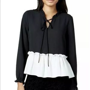 Maison Jules Womens Black And White Blouse